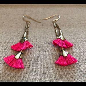 Stella & Dot Hot Pink Tassel Earrings